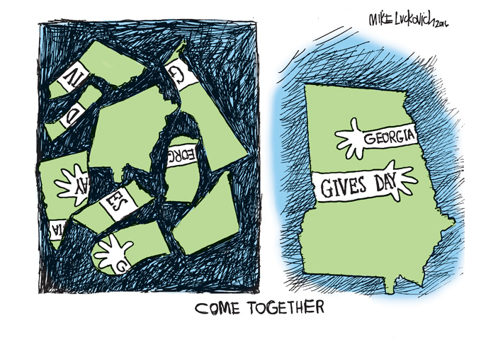 """A cartoon by Mike Luckovich. The first panel has puzzle pieces of the state of Georgia in disarray. The second panel has the puzzle put together to make the state saying """"Georgia Gives Day"""" Below, it says """"Come Together"""""""