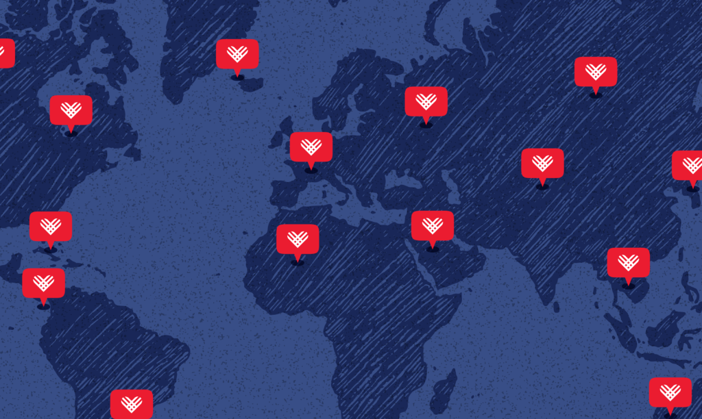 A blue map of the world with 15 red pins in various countries.