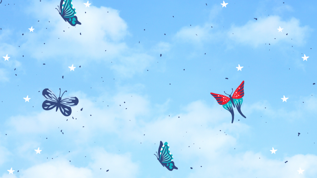 Clouds on a light blue background with a few butterflies floating about