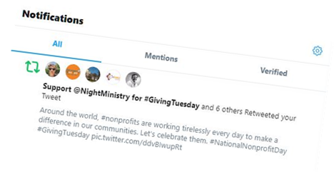 """A screenshot of a p2p fundraiser's Twitter display name, which they changed to say """"Support @NightMinistry for #GivingTuesday"""""""