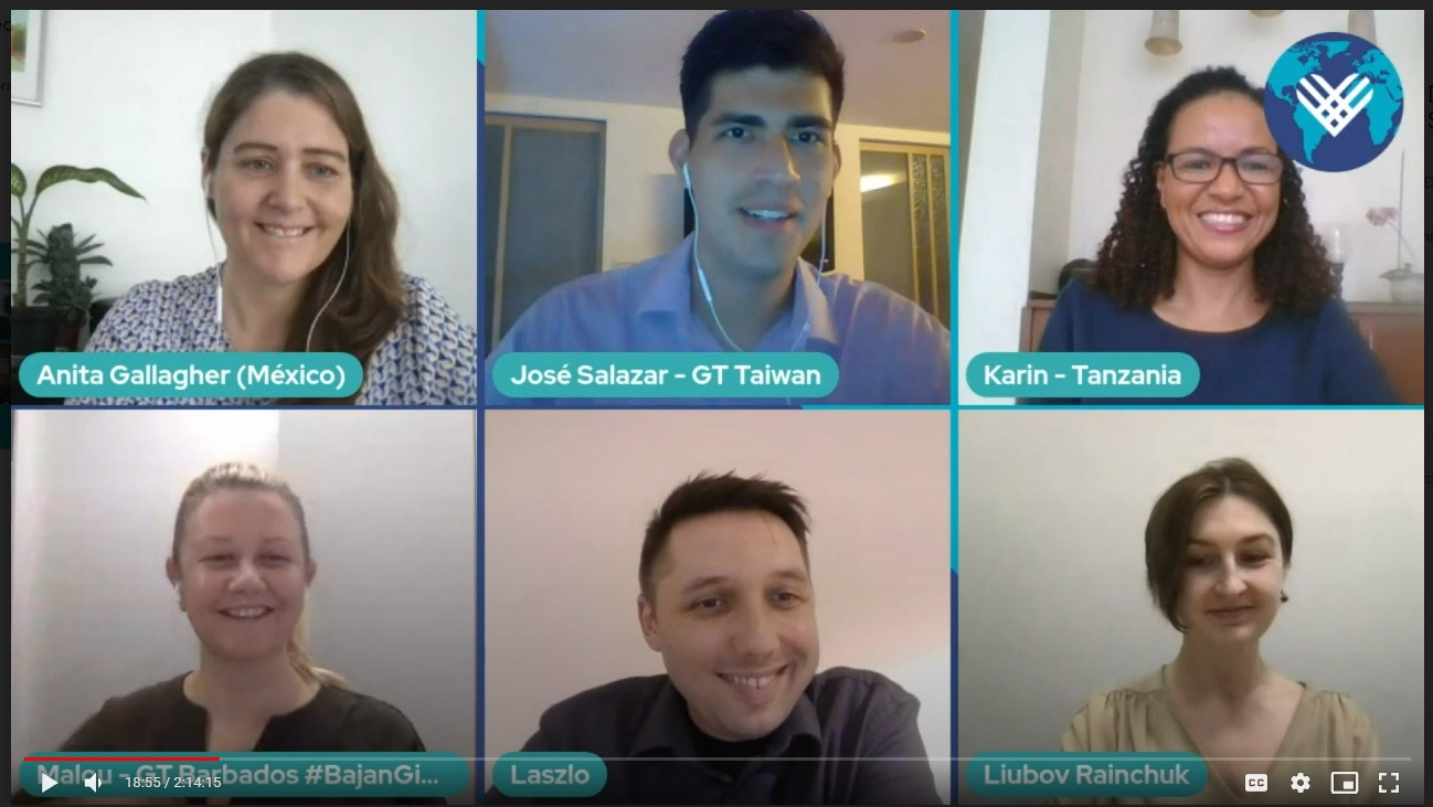 Screen capture of video conference with six individuals.