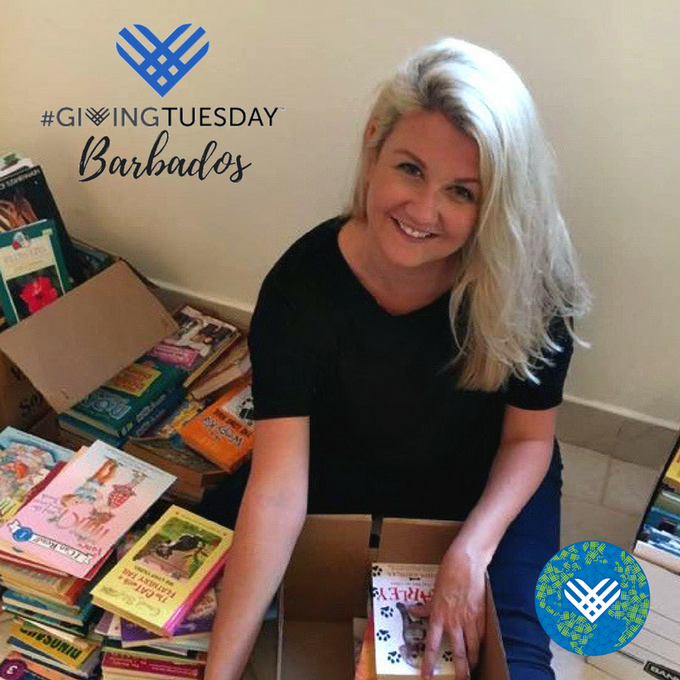 Square image showing a woman with piles of donated books and a GivingTuesday Barbados logo with blue heart.